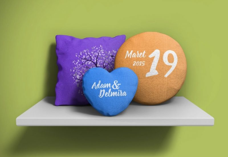 Round Pillow Mockup PSD