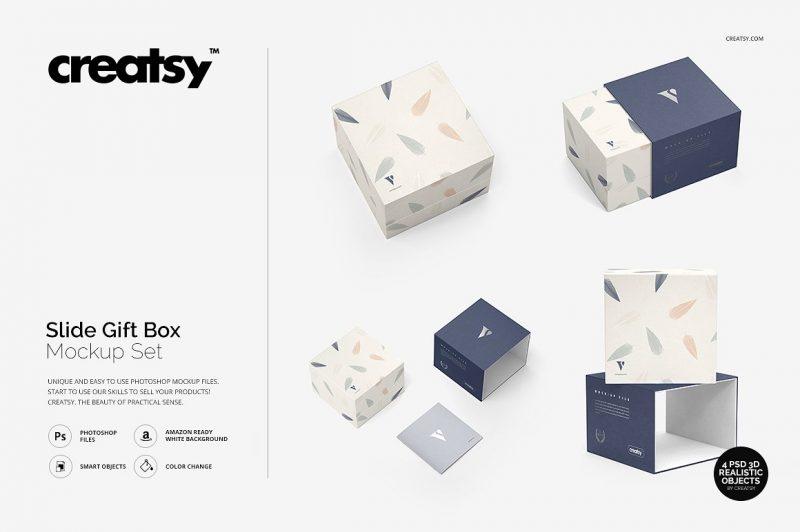 Slide Gift Box Mockup PSD