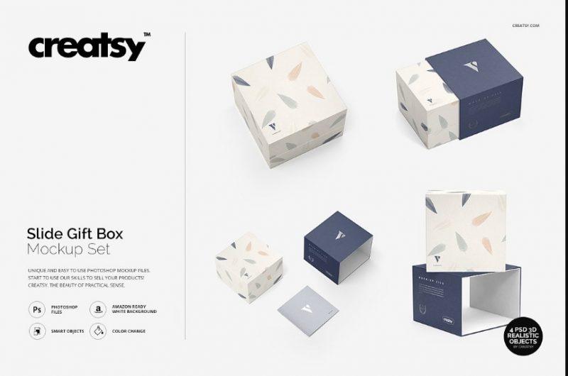 Slide Gift Box Packaging Mockup