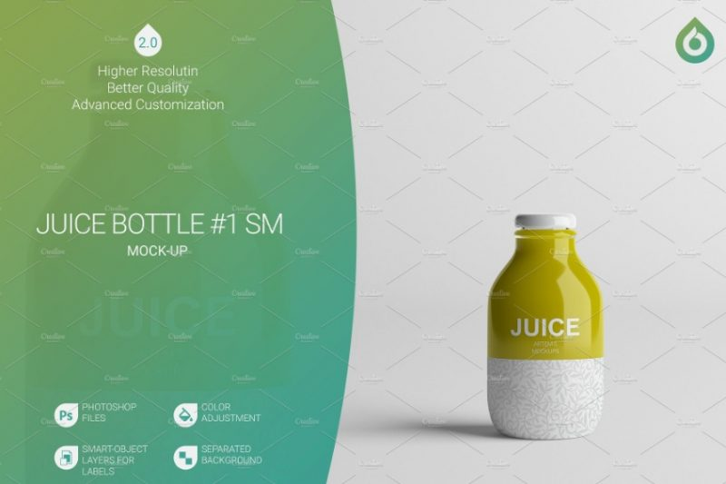 Small Juice Bottle Mockup