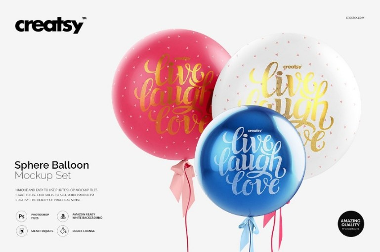 Sphere Balloon Mockup PSD