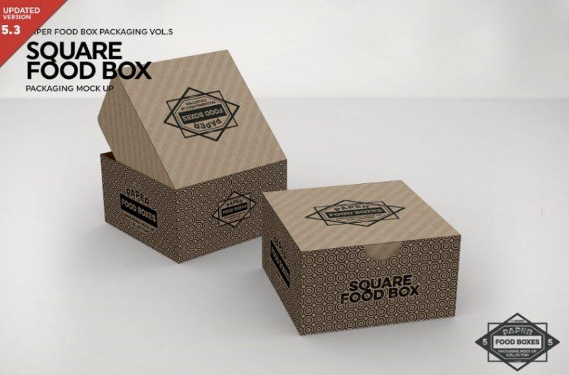 Square Food Packaging Box Mockup
