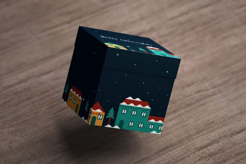 Square Gift Box Packaging Mockuop