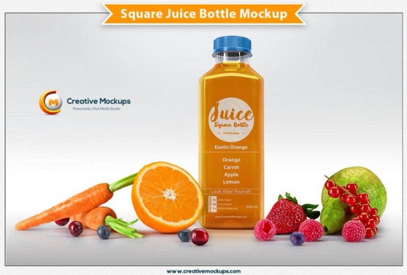 Square Juice Bottle Mockup