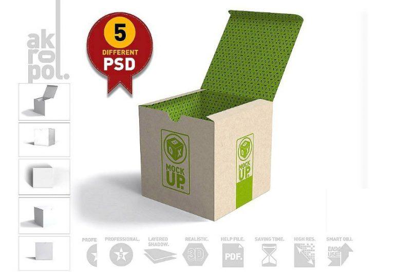Square Packaging Box Mockup
