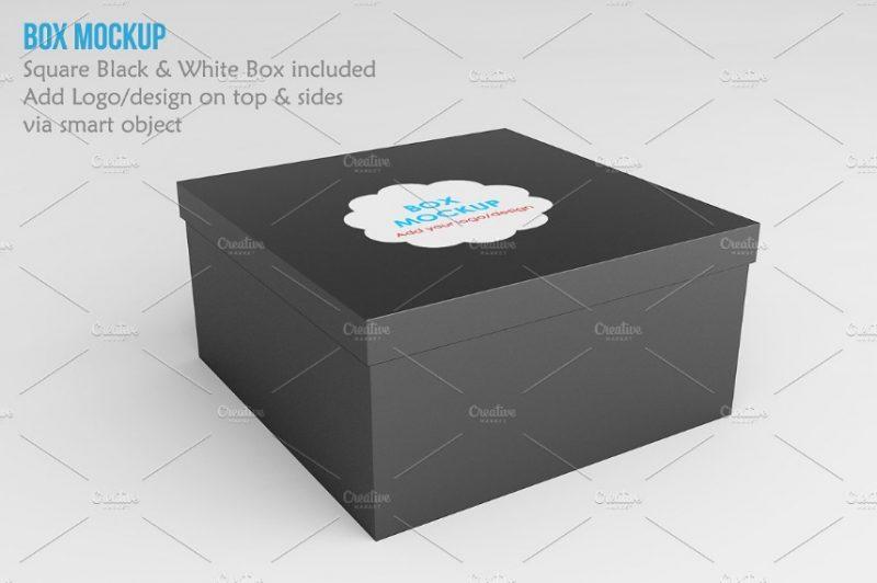 Square Shoe Box Mockup
