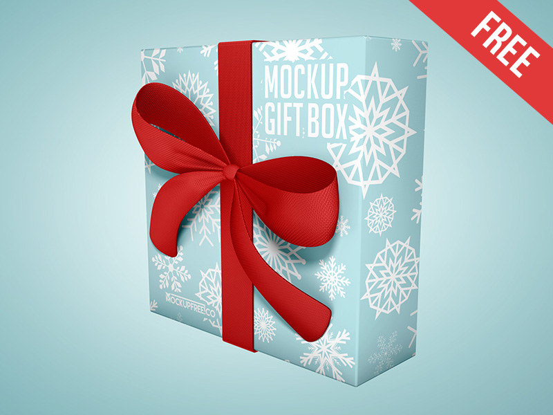 Standing Gift Box Mockup PSD