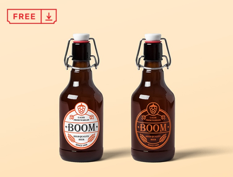 Vintage Beer Bottle Mockup