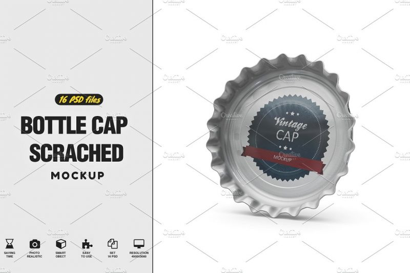 Vintage Bottle Cap Mockup