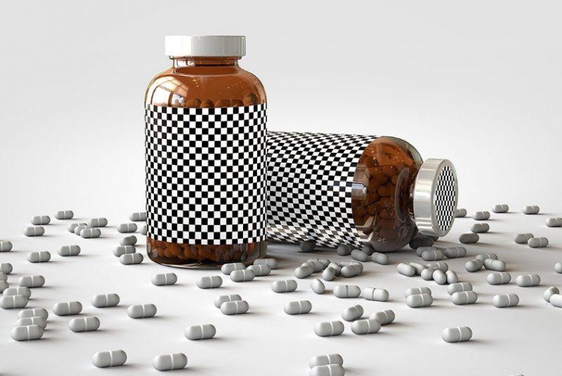 Vitamins Bottle Mockup PSD