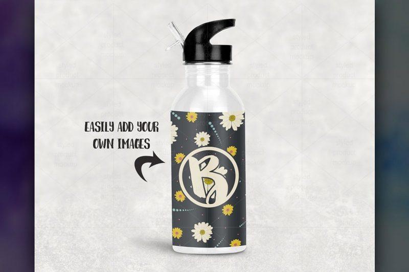 White Sports Bottle Mockup