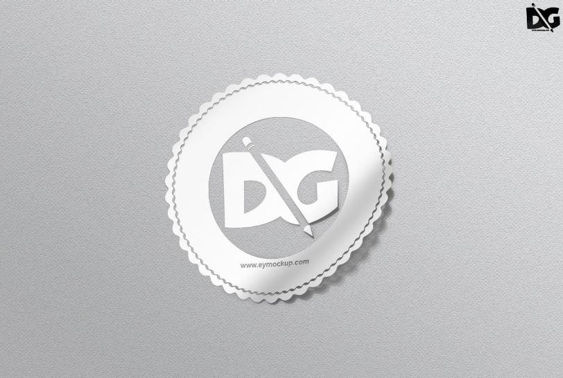 White Sticker Mockup PSD