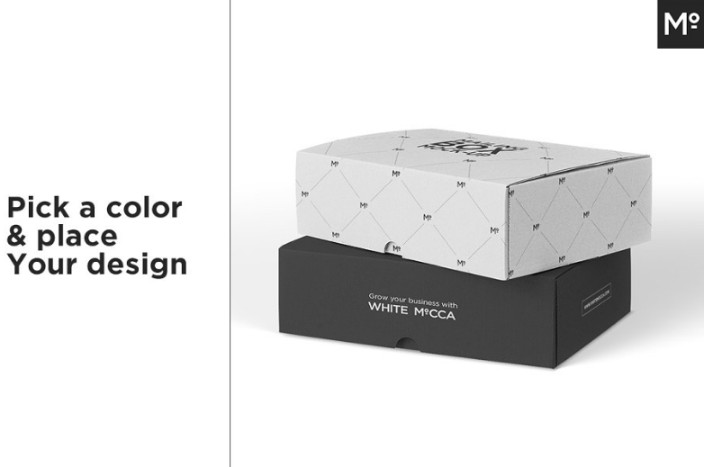 White and Black Box Mockup PSD