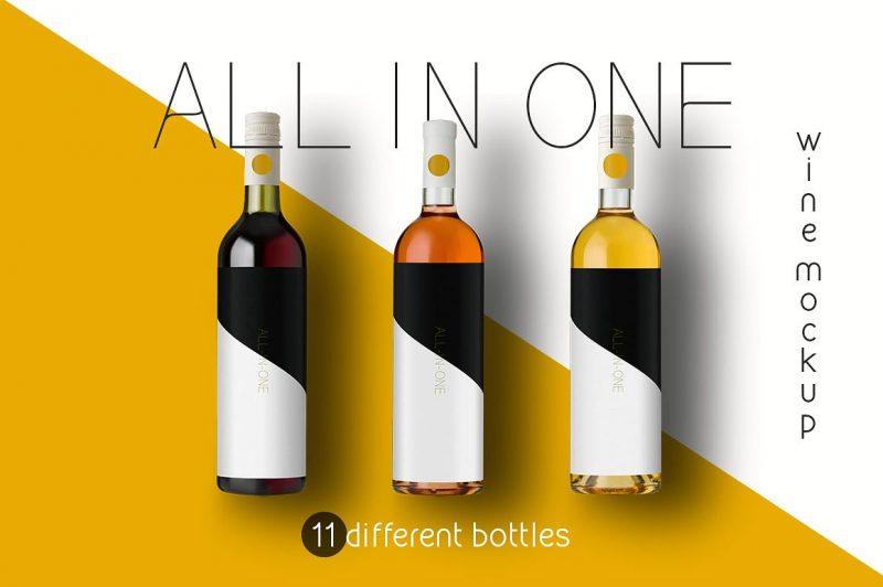 Wine Bottle Label Branding Mockup