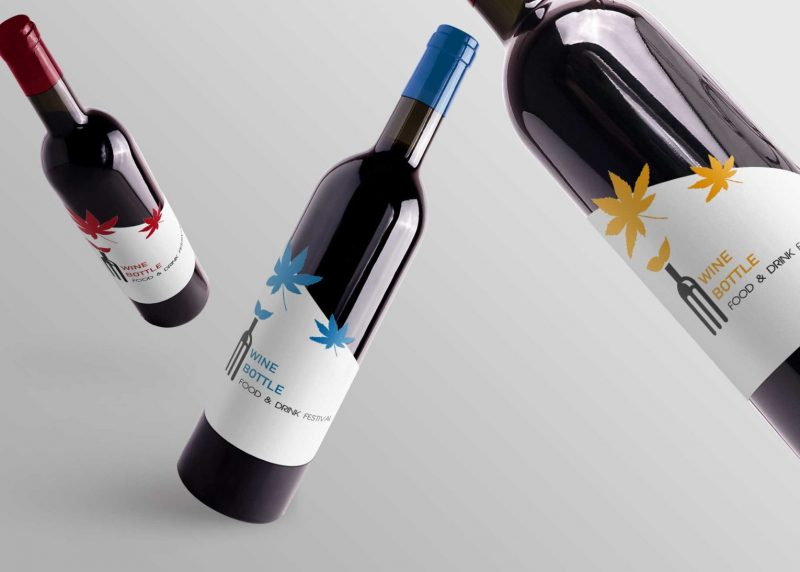 Wine Bottle Mockup PSD in Air
