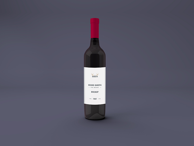 3D Wine Label Mockup PSD