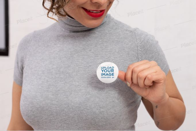 Woman-Pasting-a-Political-Sticker-Mockup