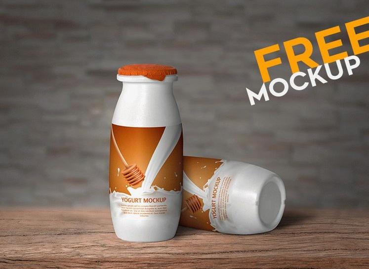 Yogurt Bottle Mockup PSD Free