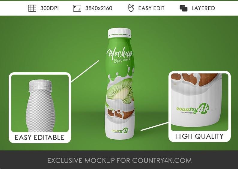 Yogurt Bottle PSD Mockup