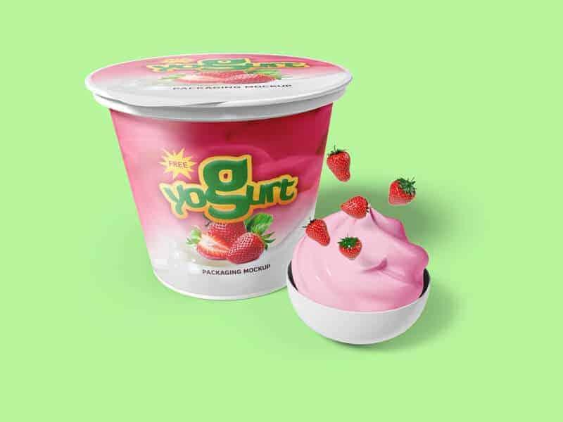 Yogurt Packaging Mockup PSD Free