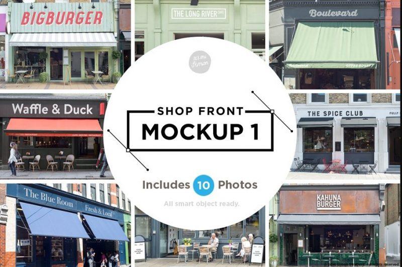 10 Shop Facades Mockup PSD