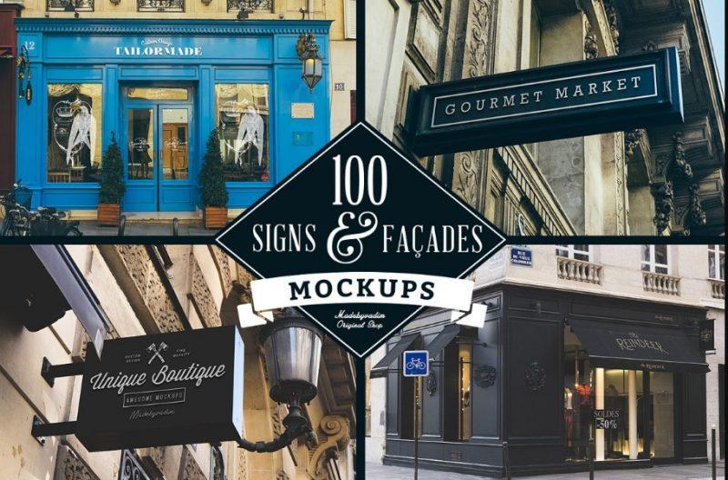 100 Signs and Facade Mockup PSD