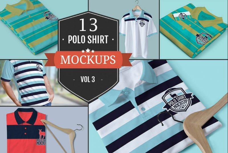 13 High Quality Polo Shirts Mockup