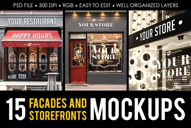 15 Facades and Store Front Mockups