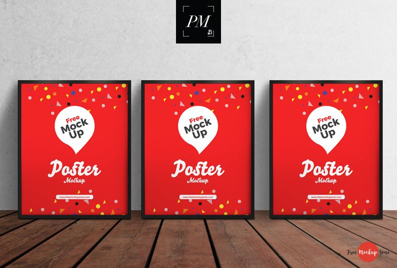 3 PSD Posters on Wooden Floor Mockup
