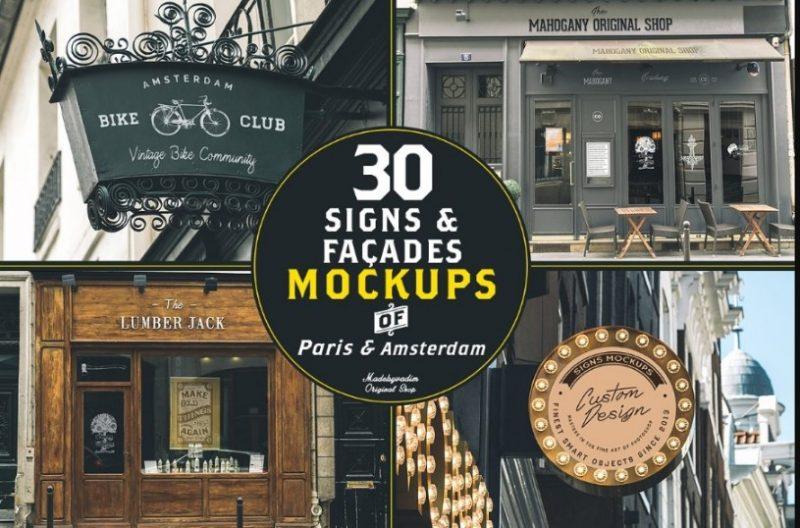 30 Signs and Facade Mockup PSD