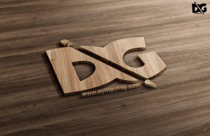 3D Cutout Logo Mockup PSD Free