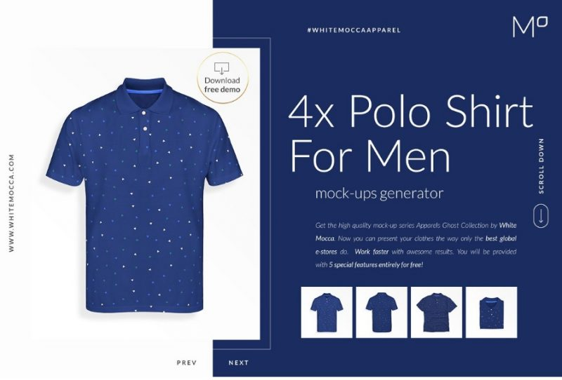 4 Men Polo T Shirt Mockup PSD
