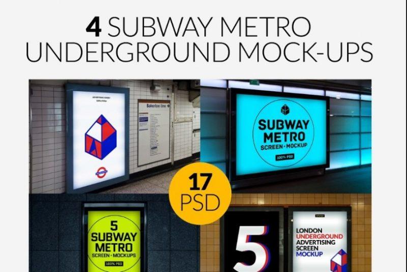 4 Subway Underground Posters Mockup Bundle