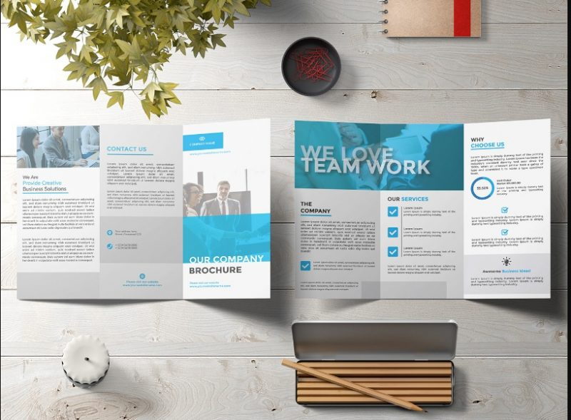 5 Free Tri Fold Brochure Mockup Pack