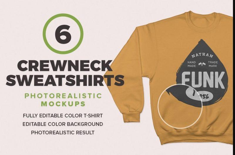 6 Photo Realistic Sweatshirt Mockup PSD