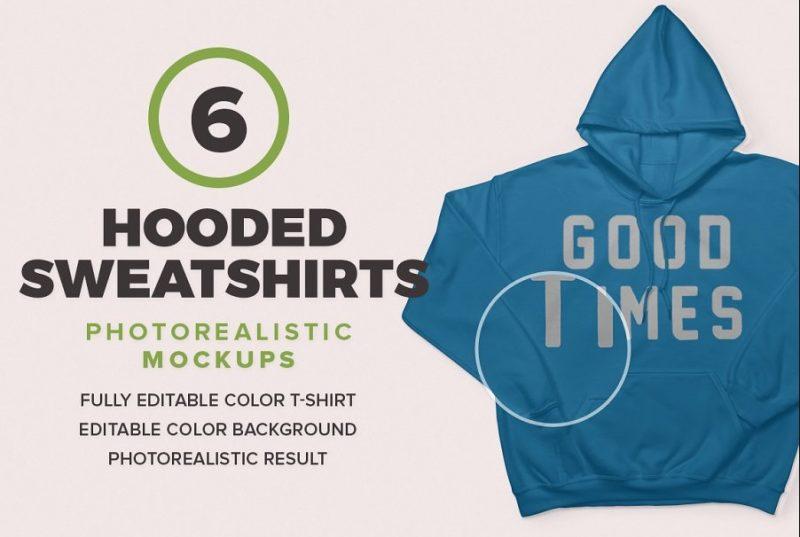 6 Sweatshirts Mockup PSD