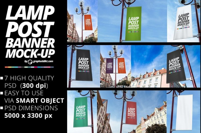 7 Lamp Post Mockup PSD Collection