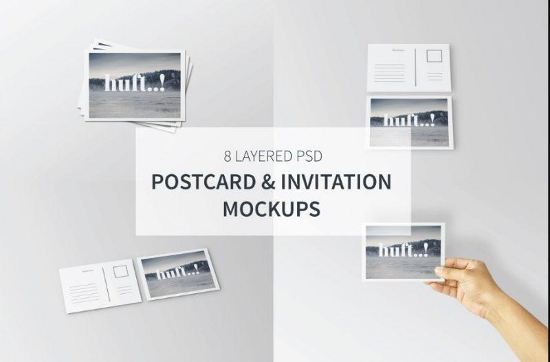 8 Clean Invitation Mockup PSD