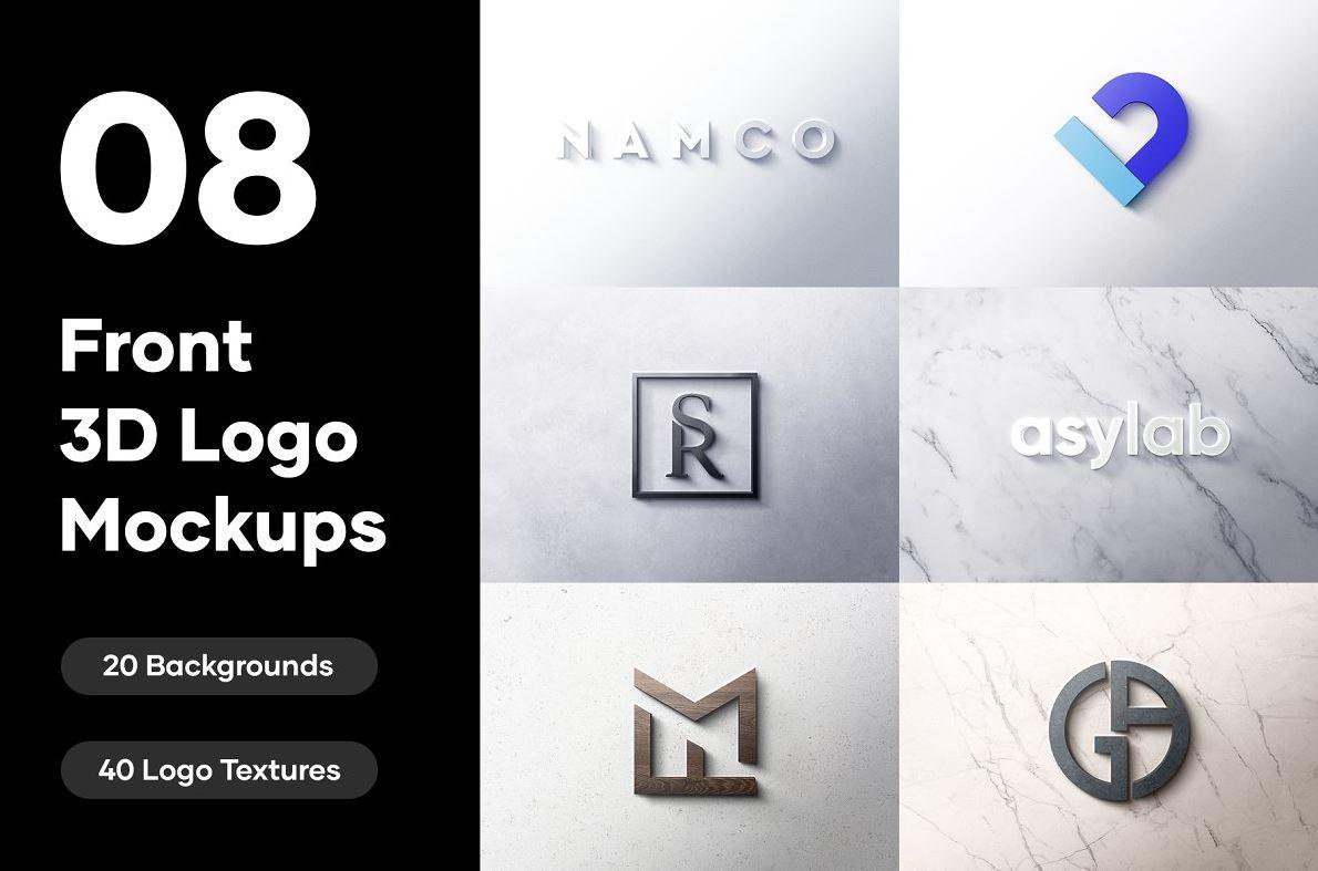8-Front-3D-Logo-Mockups