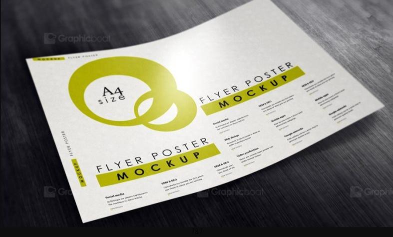 A4 Flyer Poster Mockup PSD