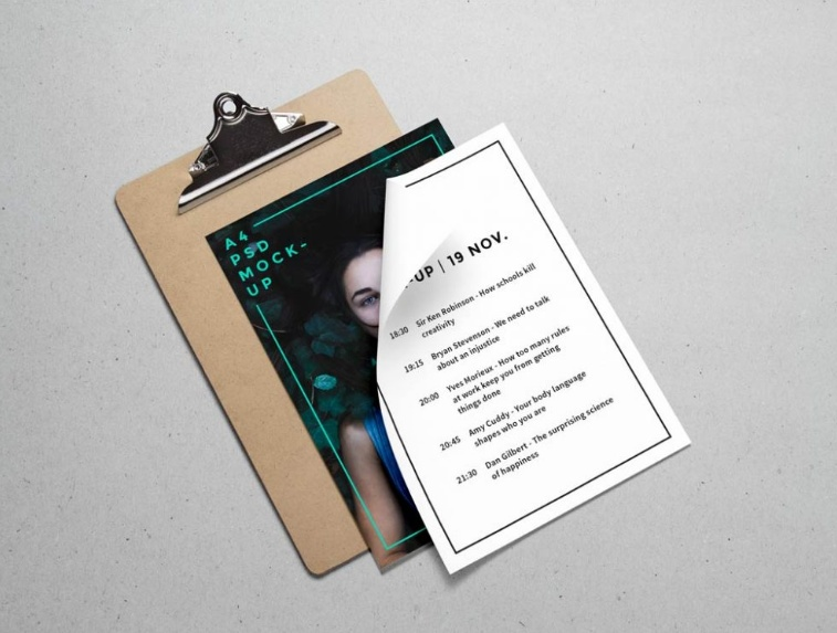 A4 Menu Mockup PSD Download