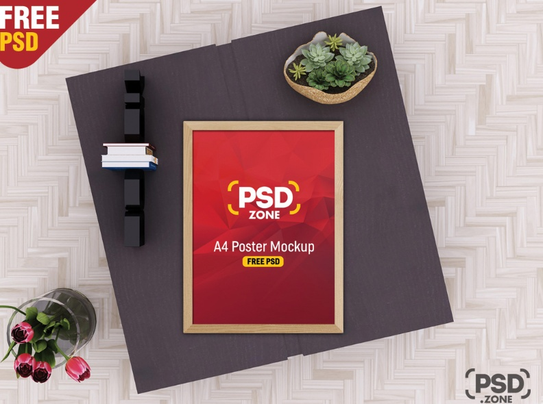 A4 Poster Mockup PSD Free