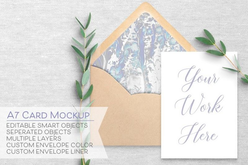 A7 Greeting Card Mockup PSD
