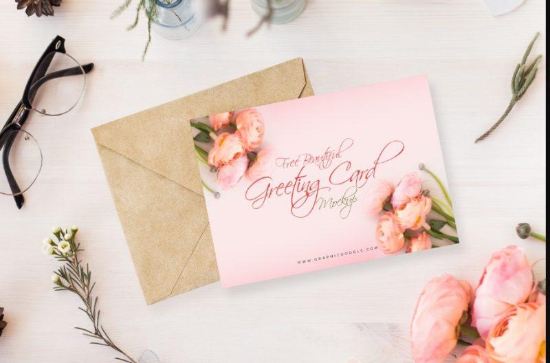 Beautiful Wedding Card Mockup PSD