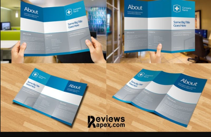 Blank Tri Fold Brochure Mockup PSD