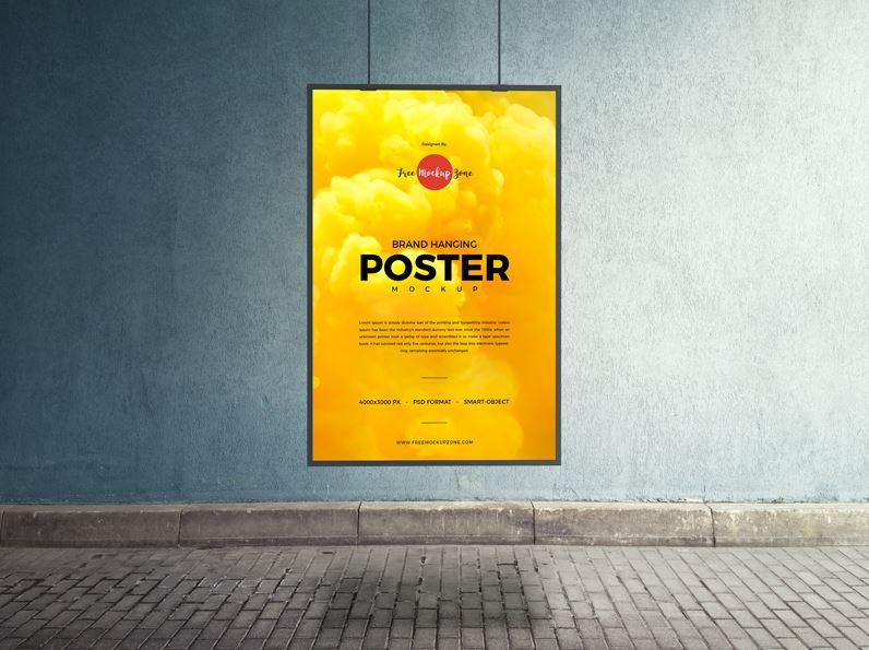Brand Hanging PSD Poster Mockup