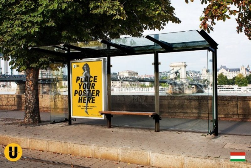 Bus Stop Billboard Poster Mockup