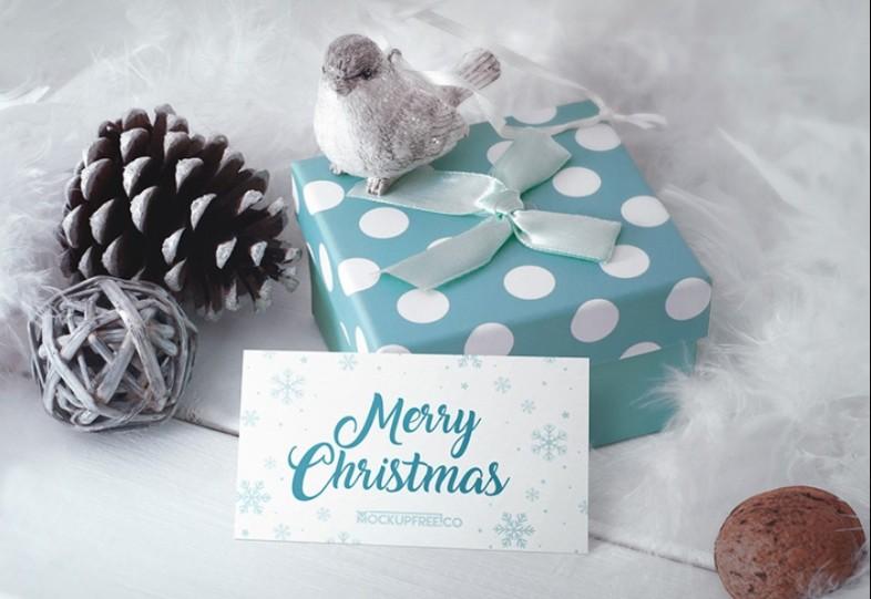 Christmas Gift Card Mockup PSD