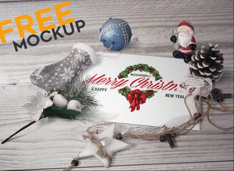 Christmas Postcard Mockup PSD