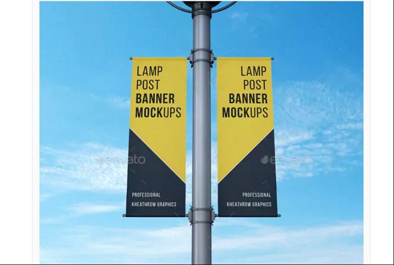 City Lamp Post Banner Mockup